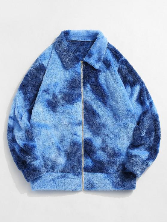 womens ZAFUL Fluffy Tie Dye Jacket - BLUE 2XL