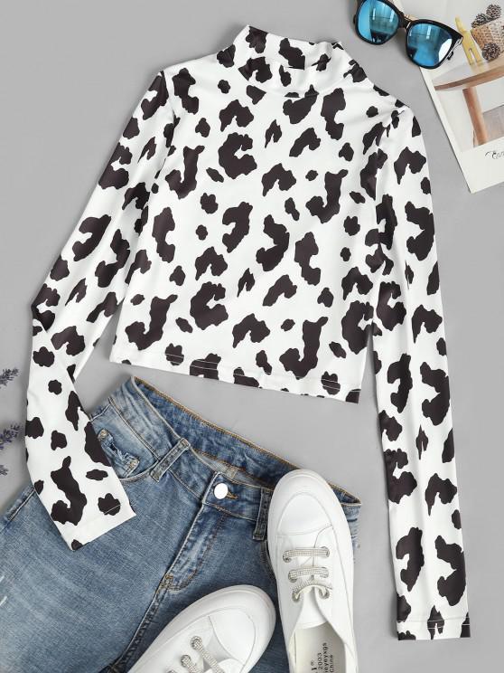 fashion Cow Print Slim Crop Baby Tee - WHITE S