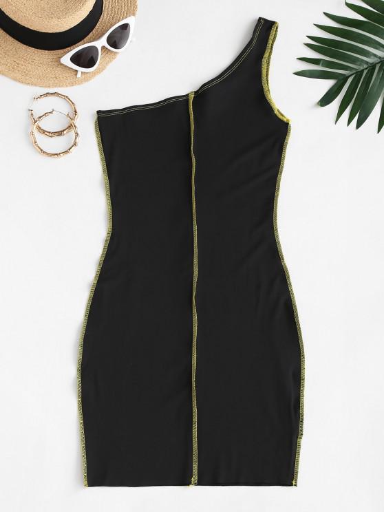 best Exposed Seam One Shoulder Slinky Dress - BLACK S