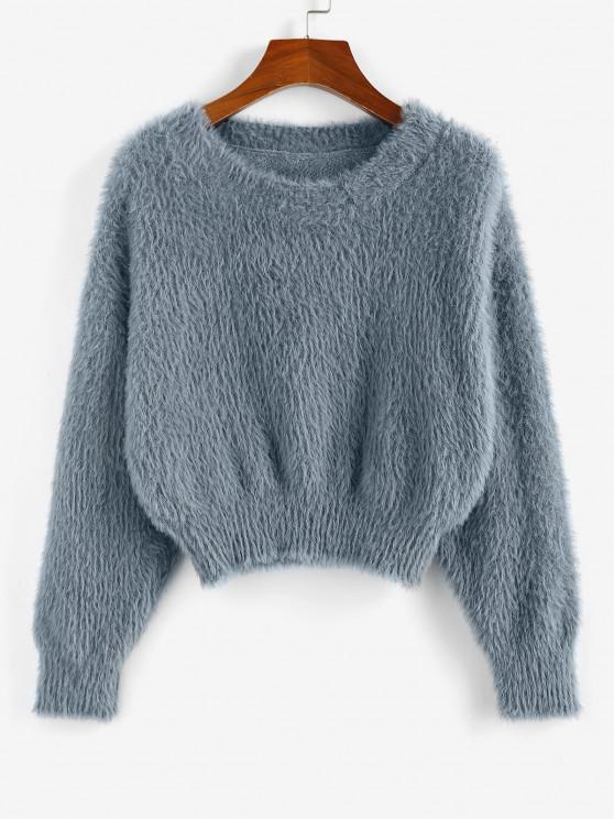 ZAFUL Fuzzy Plain Crop Jumper Sweater - اللون الرمادي L