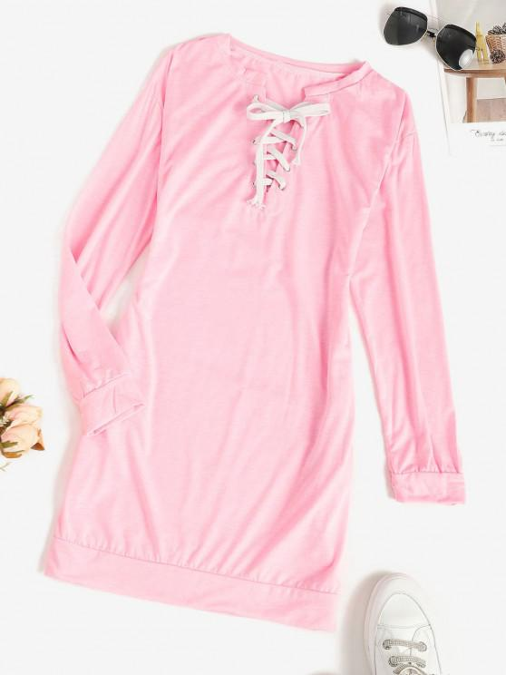 womens Lace-up Pocket Shift Sweatshirt Dress - LIGHT PINK S