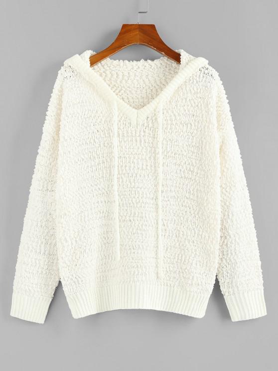 ZAFUL Boucle Knit Hooded Sweater - أبيض M