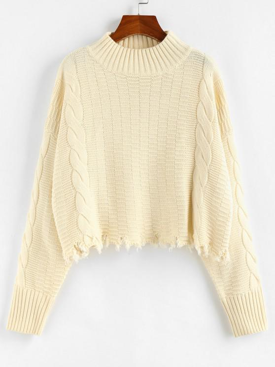 outfits ZAFUL Frayed Hem Mock Neck Drop Shoulder Sweater - LIGHT COFFEE L