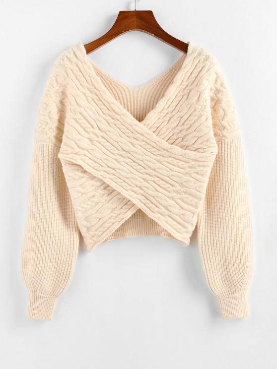 ZAFUL Drop Shoulder Crossover Cropped Sweater - القهوة الخفيفة S
