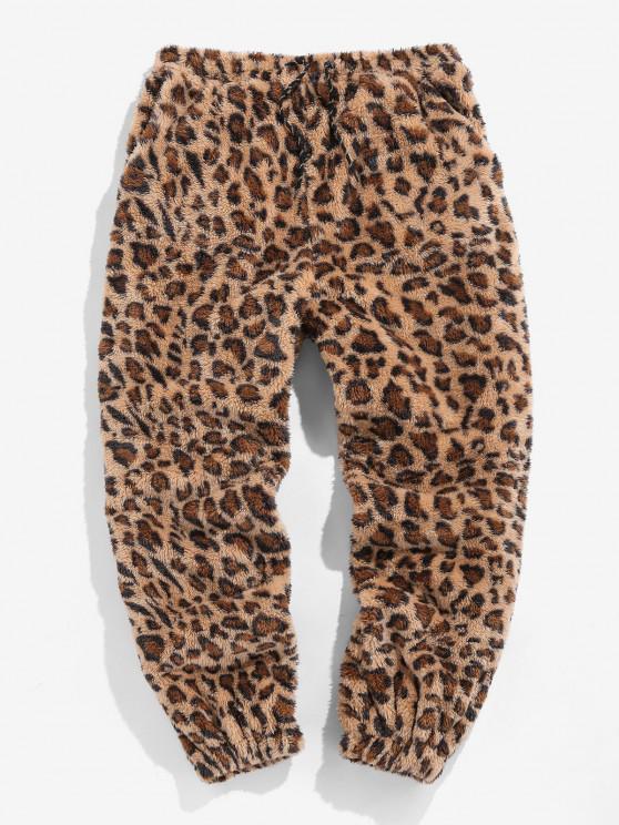 ZAFUL Pantalones de Piel Sintética con Estampado de Leopardo - Camel Marrón XL