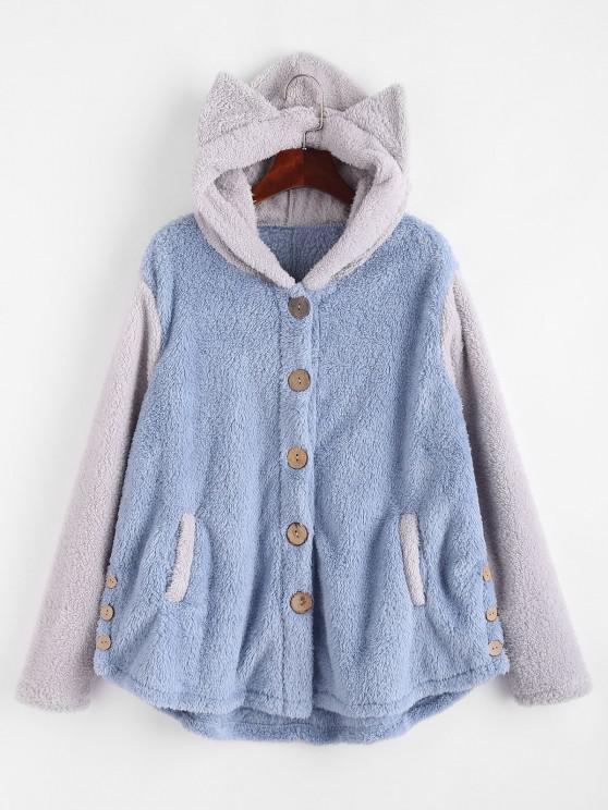 Flauschige Zweifarbige Tier Decke Hoodie Mantel - Grau M