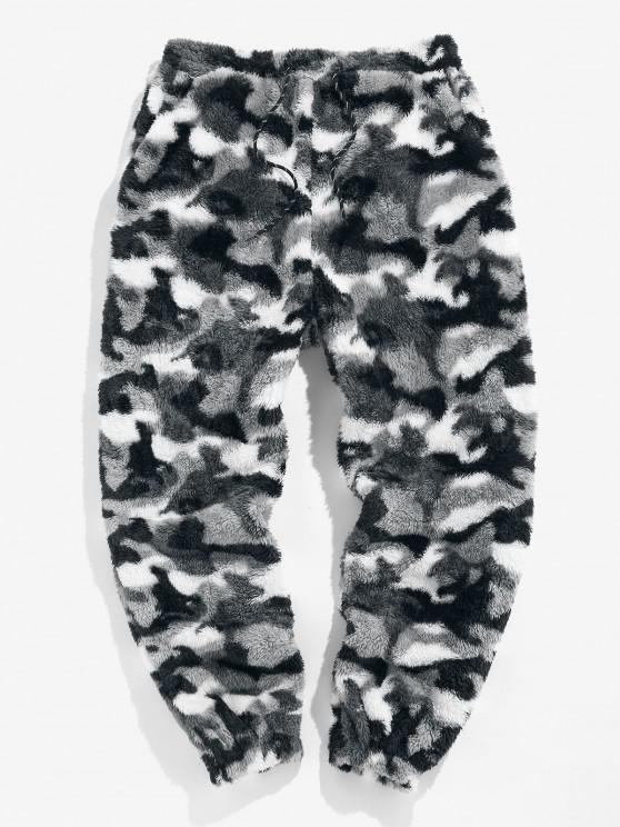 women's ZAFUL Leopard Pattern Faux Fur Fluffy Pants - SNOW CAMOUFLAGE L