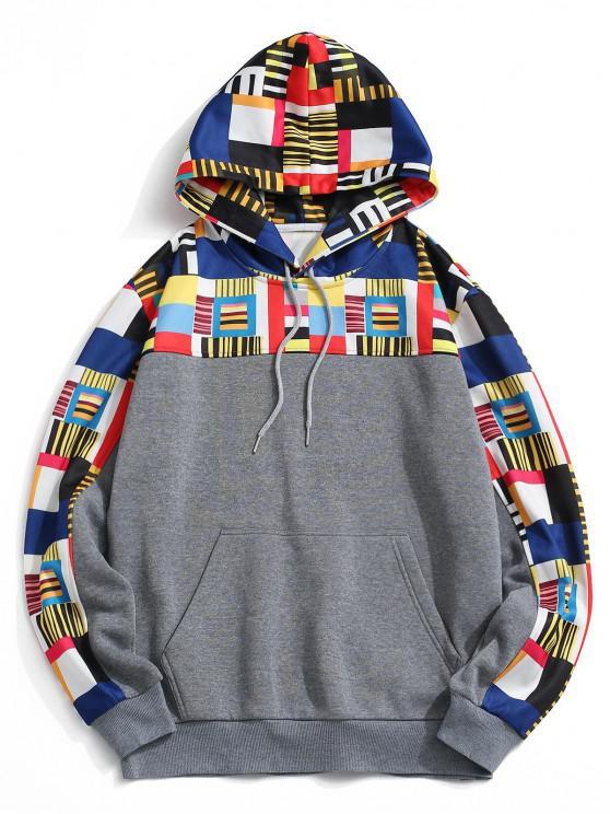 Geometrischer Muster Vorder Tasche Vlies Hoodie - Grau XL