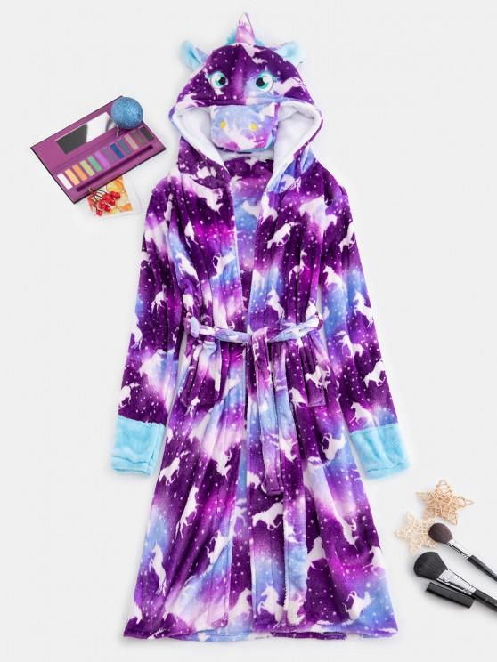 online Plush Unicorn Pocket Belted Costume Pajama Robe - MULTI M