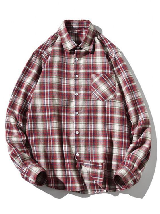 Turn-down Collar Button Up Plaid Shirt - نبيذ احمر M