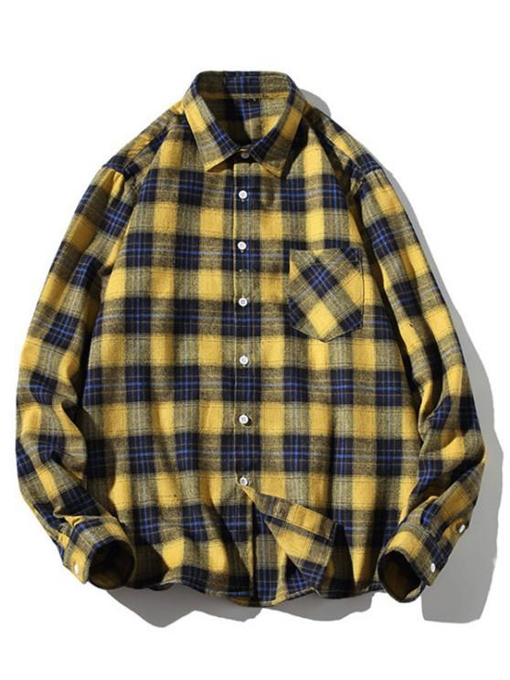 unique Turn-down Collar Button Up Plaid Shirt - YELLOW M