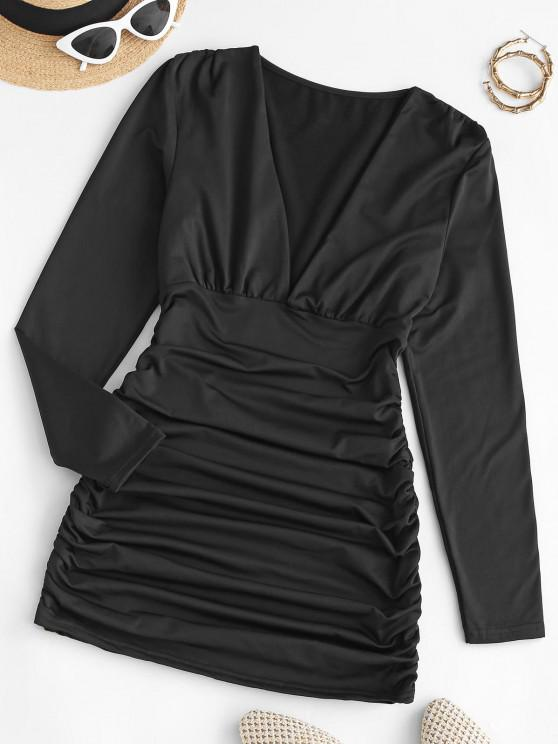 best Gathered Side Fleece Lined Slinky Dress - BLACK L