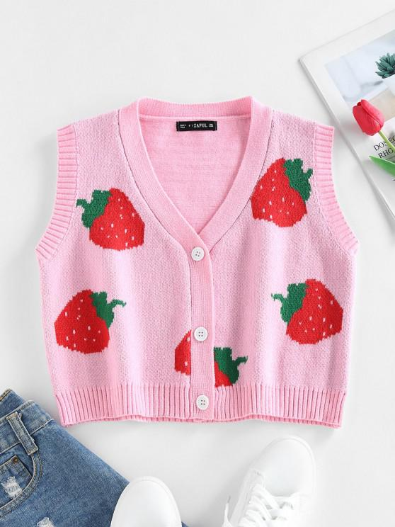 sale ZAFUL Strawberry Pattern Button Cardigan Vest - LIGHT PINK S