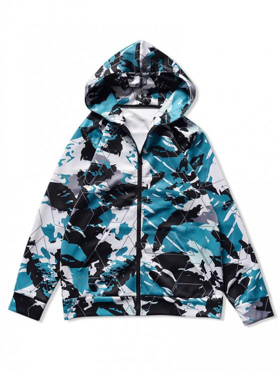 women's Hooded Camo Abstract Print Front Pocket Jacket - NAVY CAMOUFLAGE M