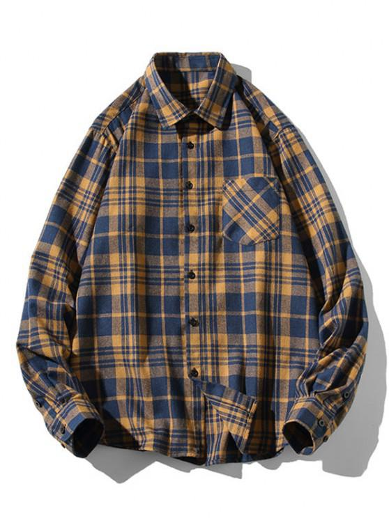 shop Plaid Zigzag Pattern Turndown Collar Shirt - DEEP BLUE L