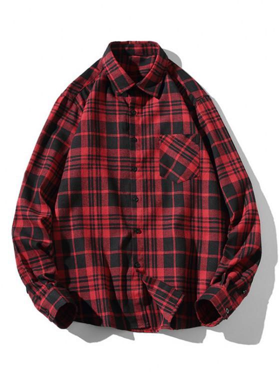 Plaid Zigzag Pattern Turndown Collar Shirt - أحمر S