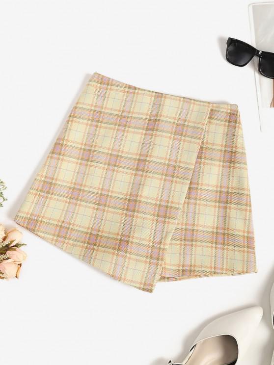 hot Plaid Overlap Shorts - BURLYWOOD L