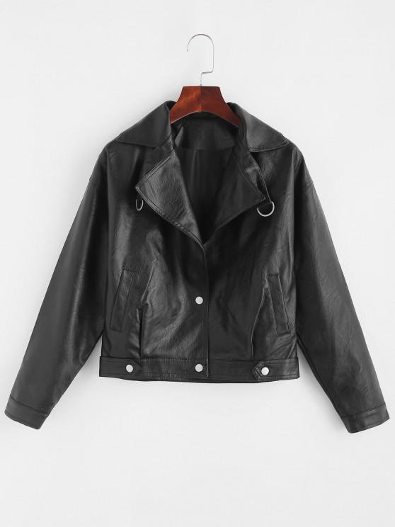 chic Faux Leather Snap Button Pockets Biker Jacket - BLACK S