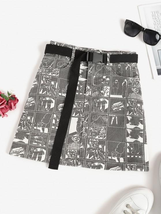 Mini Falda Estampada y Carro - Gris Oscuro M
