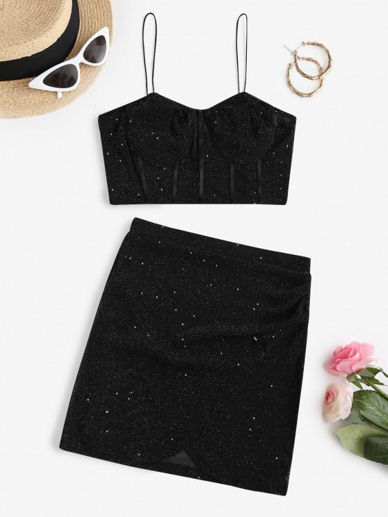 outfits Sparkle Metallic Thread Mesh Mini Tulip Skirt Set - BLACK L
