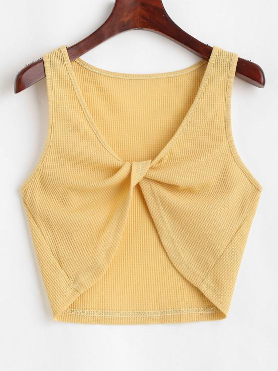 chic Knitted Twisted Plunging Crop Tank Top - YELLOW M