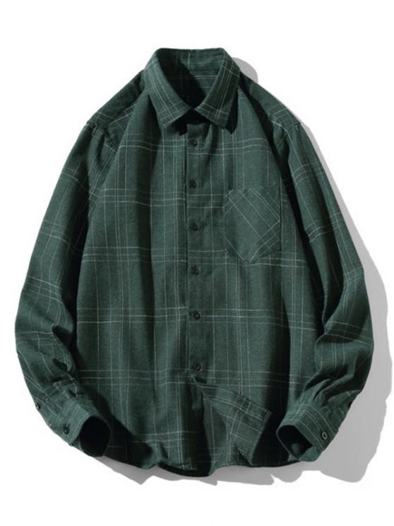 shop Stitching Design Plaid Shirt - GREEN M