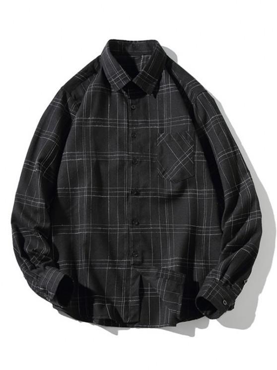 Stitching Design Plaid Shirt - أسود XS