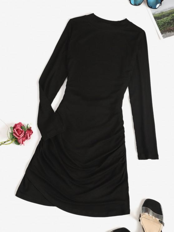 fancy Long Sleeve Ruched Draped Mini Dress - BLACK M