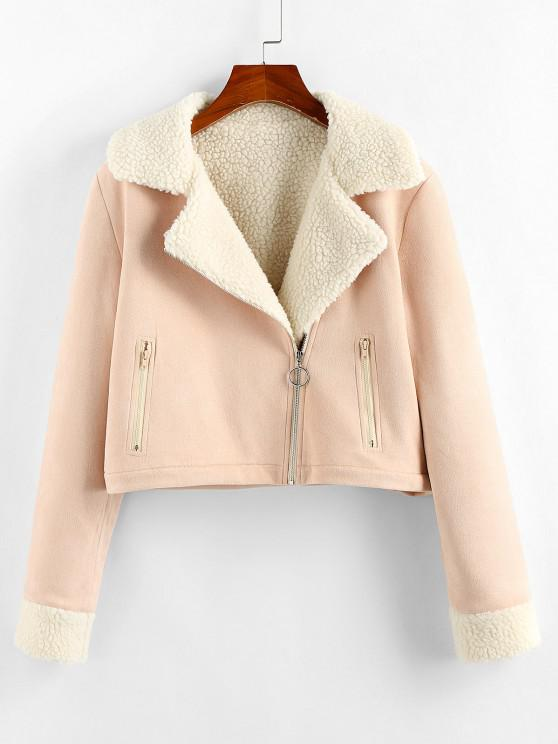 women's ZAFUL Faux Suede Borg Collar Zipper Jacket - LIGHT PINK L
