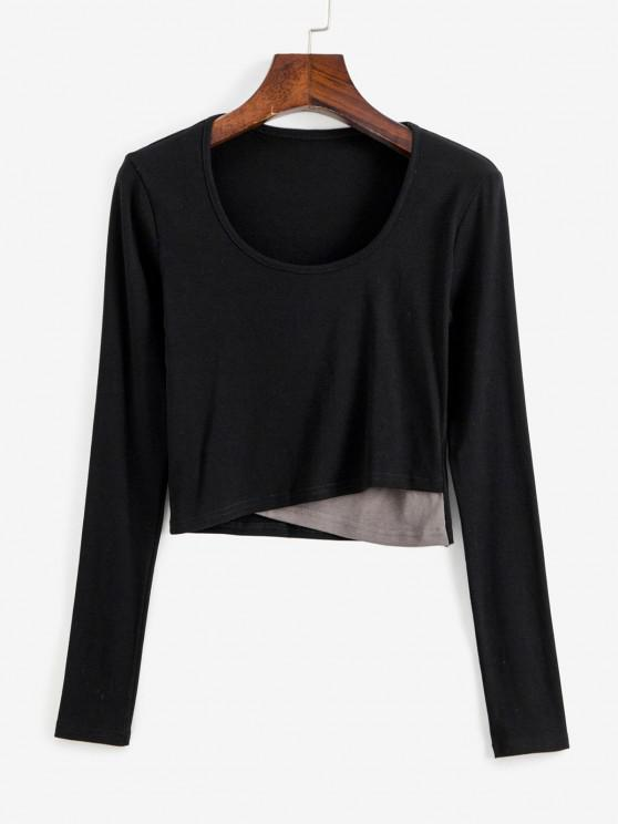 womens Cropped Crossover Front Baby Tee - BLACK M