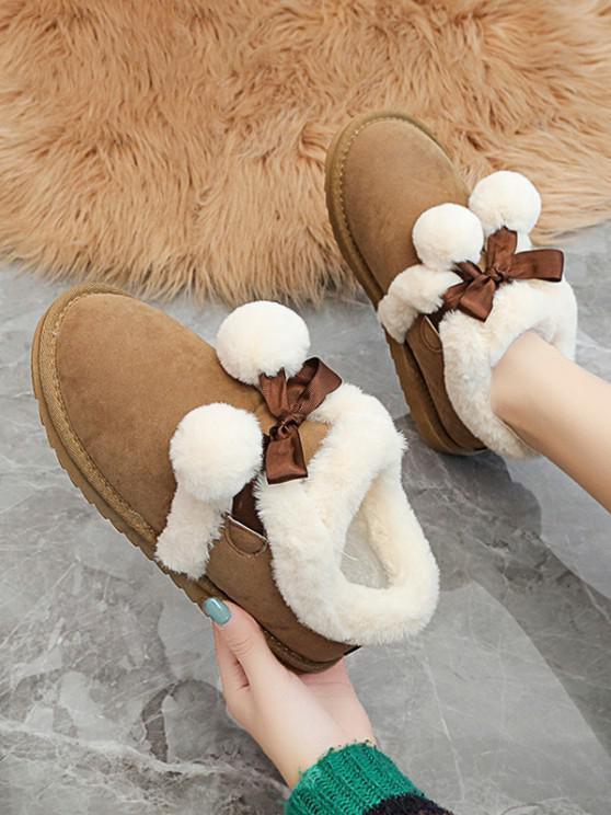 lady Pom Pom Plush Snow Boots - BROWN EU 37