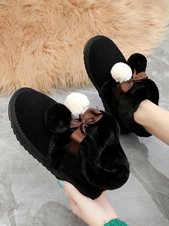 shop Pom Pom Plush Snow Boots - BLACK EU 40