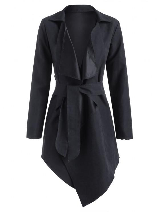 outfits Asymmetrical Belted Wrap Trench Coat - BLACK S