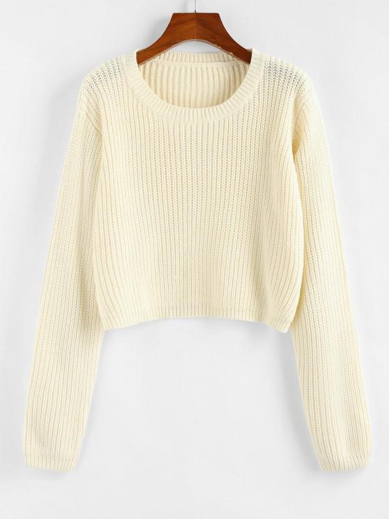 ZAFUL Cutout Back Crop Jumper Sweater - أبيض M