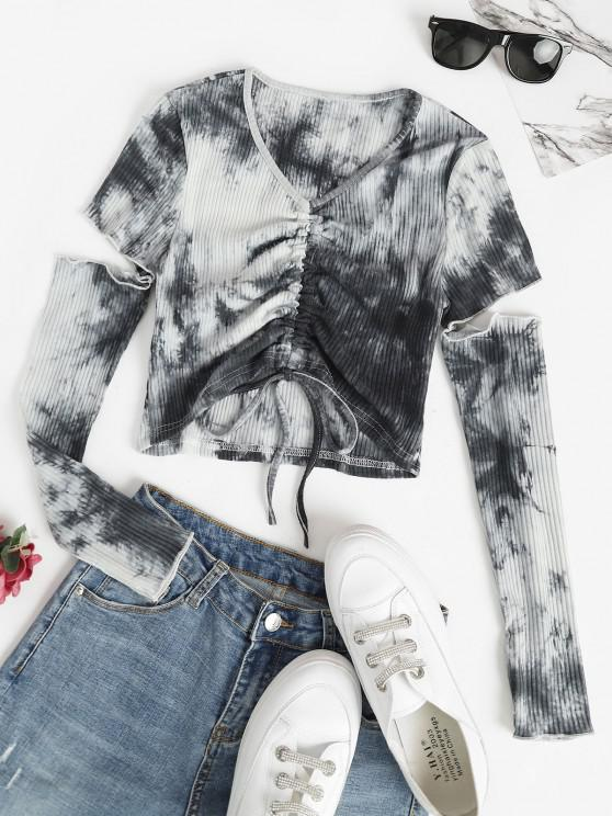 latest Tie Dye Ribbed Cinched Cutout Baby Tee - GRAY M