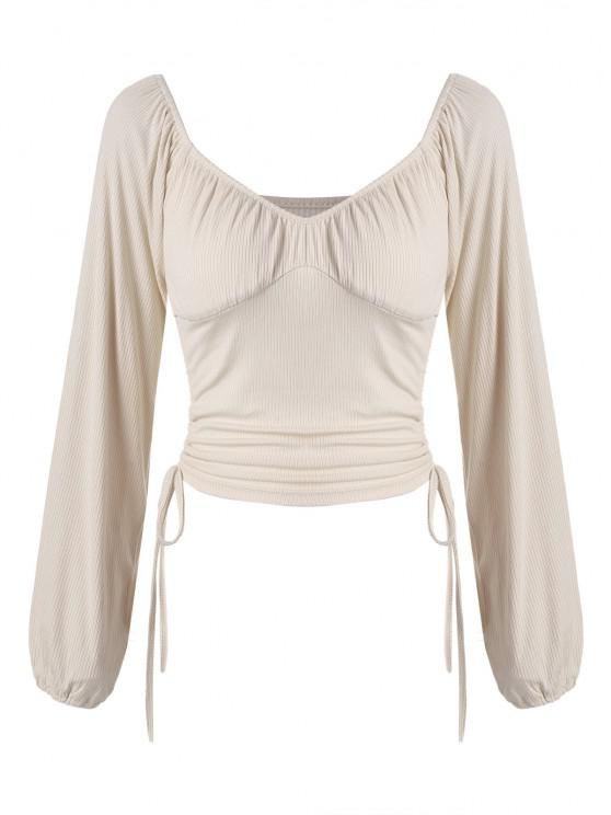 Ruched Cinched Side Ribbed Top - خشب قوي البنية S