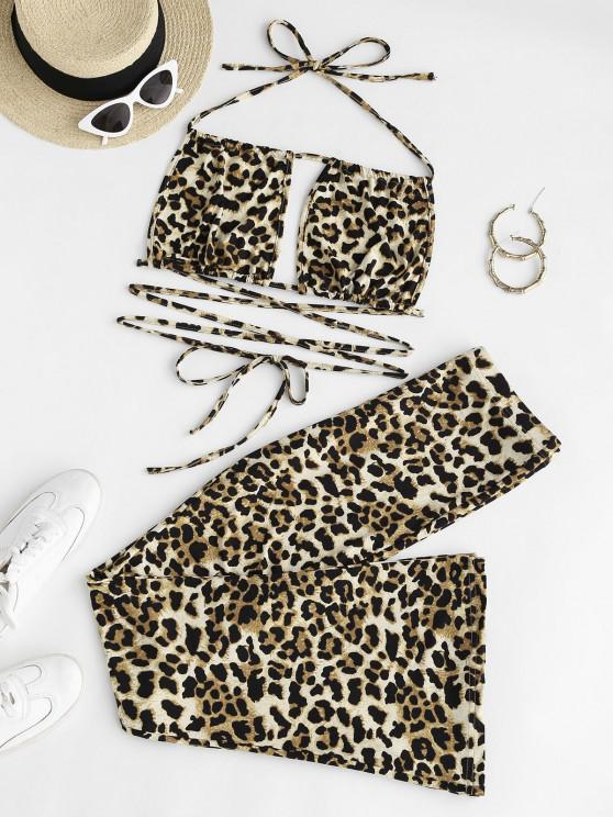 latest Leopard Print Cutout Two Piece Pants Set - MULTI M