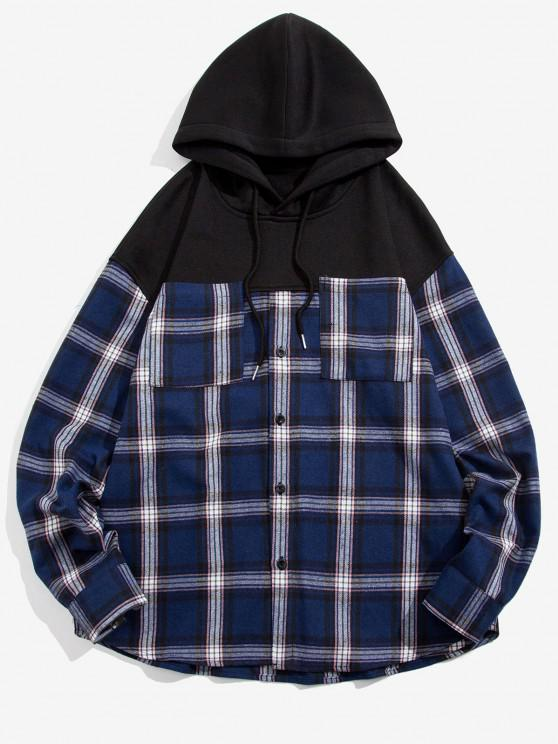 Plaid Print Double Pockets Fleece Hoodie - أسود S