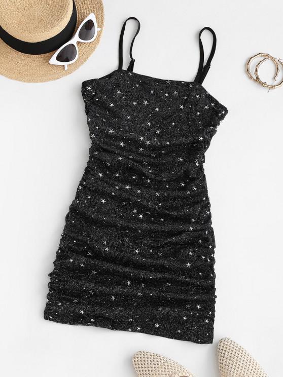 shop Glitter Star Gathered Side Mesh Slinky Dress - BLACK M