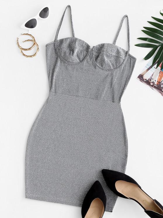 women's Cami Glitter Bustier Slinky Party Dress - GRAY S
