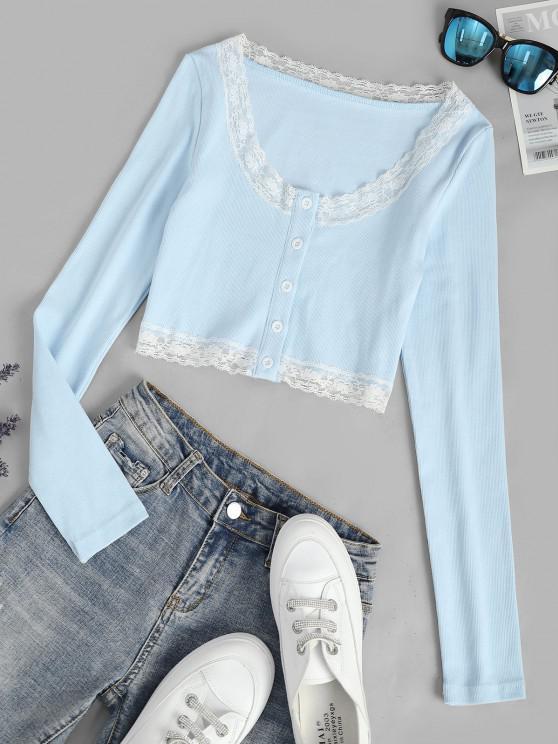 fancy Long Sleeve Lace Trim Crop Ribbed Tee - LIGHT BLUE M