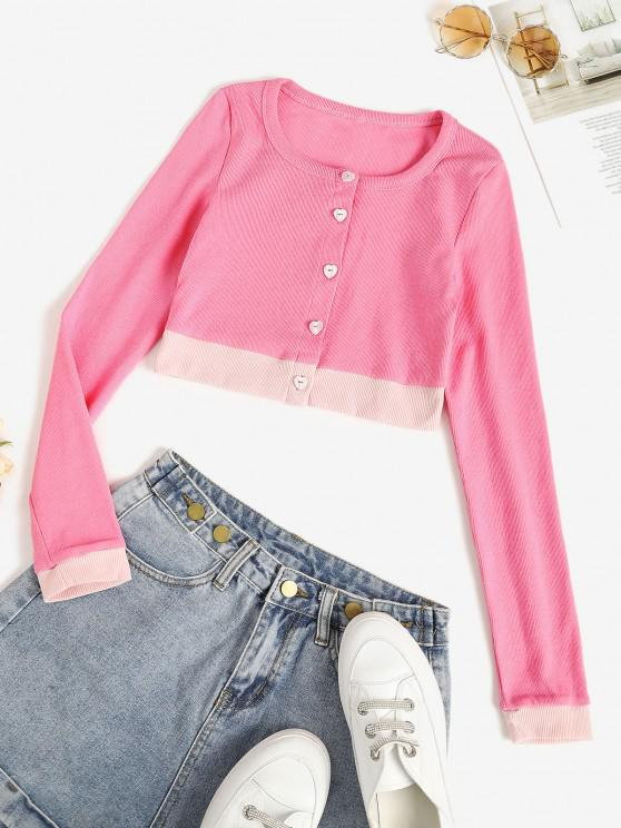 fashion Two Tone Jersey Knit Crop Baby Tee - LIGHT PINK L