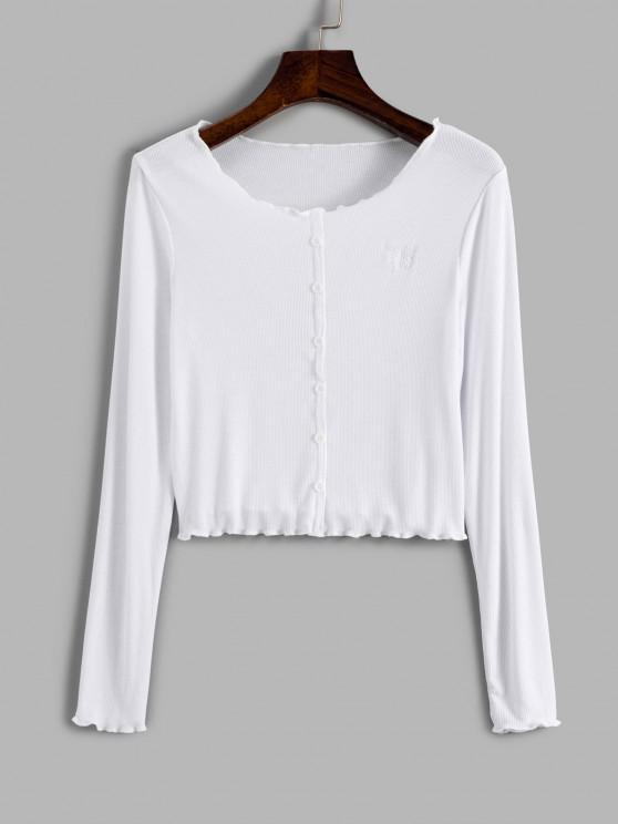 sale Ribbed Mock Button Butterfly Embroidered Crop T Shirt - WHITE S