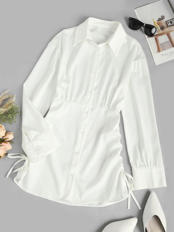 shop Cinched Side Long Sleeve Shirt Dress - CRYSTAL CREAM M