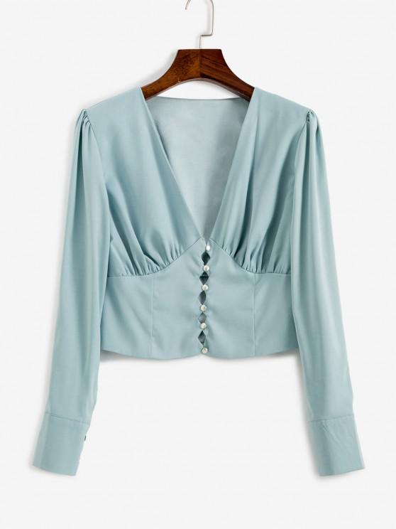V Neck Button Loop Ruched Blouse - ازرق فاتح M