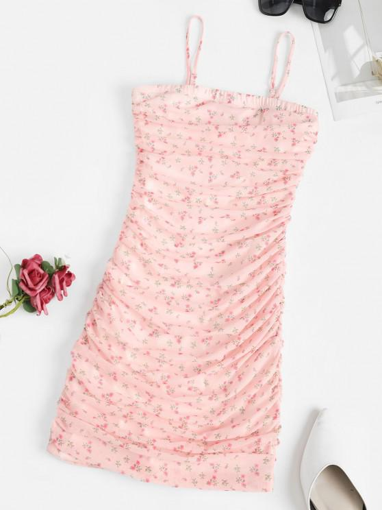 affordable Ditsy Print Ruched Mesh Overlay Slinky Dress - LIGHT PINK L