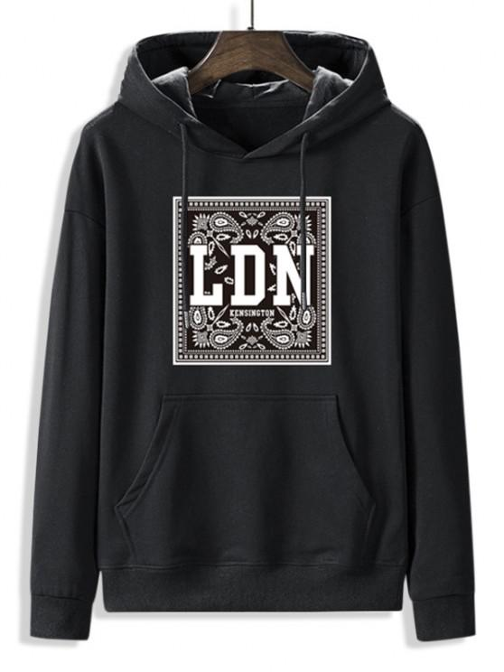 trendy Front Pocket Paisley LDN Graphic Fleece Lined Hoodie - BLACK S