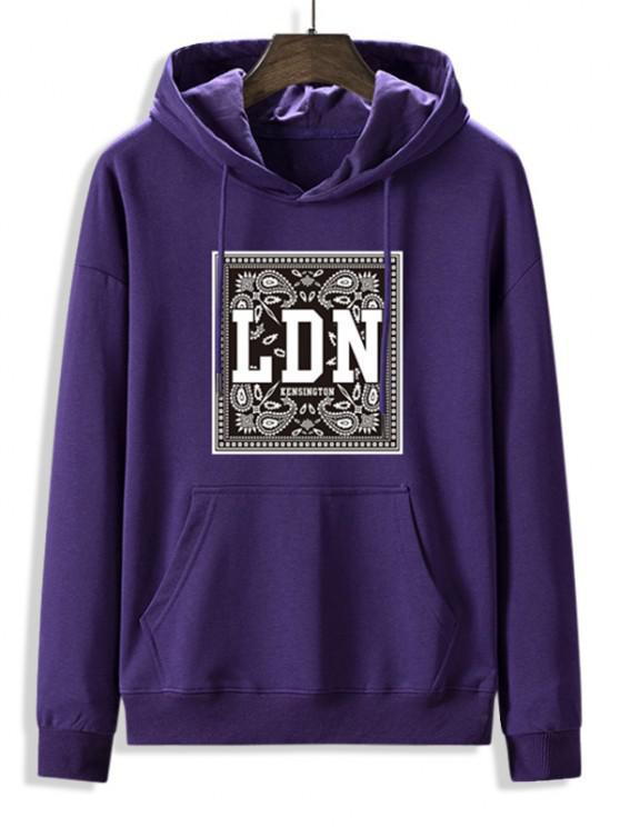 Front Pocket Paisley LDN Graphic Fleece Lined Hoodie - الأرجواني القزحية 2XL