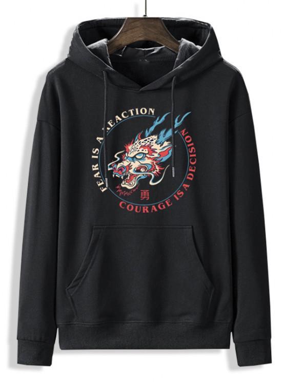 fashion Fleece Lined Letter Dragon Oriental Hoodie - BLACK S