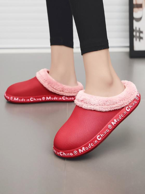 affordable Letter Smile Face Pattern Plush Slippers - RED EU 38